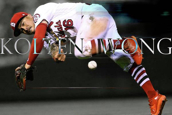 St Louis Cardinals Mixed Media - Kolten Wong, Best Play Vs Los Angeles Dodgers by Thomas Pollart