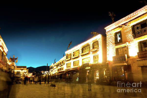 Photograph - Kora At Night At Jokhang Temple Lhasa Tibet Yantra.lv by Raimond Klavins