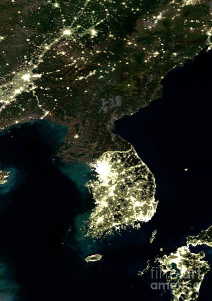 Wall Art - Photograph - Korean Peninsula At Night, Satellite Image by Science Photo Library
