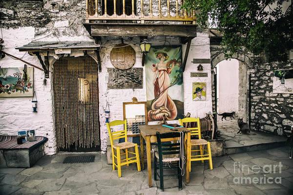 Photograph - Kostas Taverna, Kastro, Thassos by Daliana Pacuraru