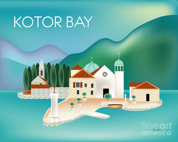 Wall Art - Digital Art - Kotor Bay Montenegro Horizontal Scene by Karen Young