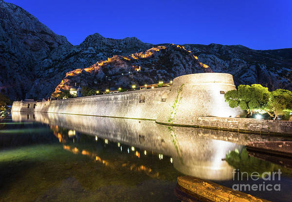 Photograph - Kotor Old Town Fortification At Night by Didier Marti