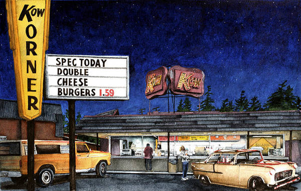 Drive-ins Painting - Kow by Perry Woodfin