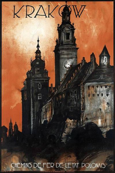 Kunst Wall Art - Painting - Krakow Castle - Vintage Travel Poster - Dark by Studio Grafiikka