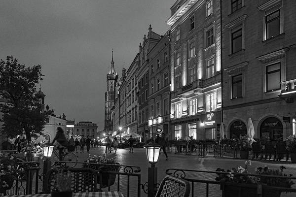 Photograph - Krakow Nights Black And White by Sharon Popek