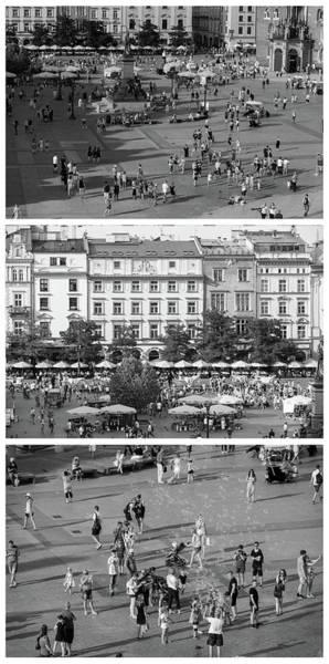 Wall Art - Photograph - Krakow Poland Main Square Triptych by Steve Gadomski