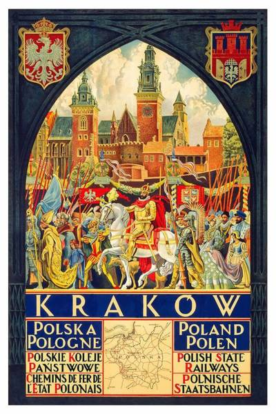 Kunst Wall Art - Painting - Krakow Poland - Vintage Travel Poster by Studio Grafiikka