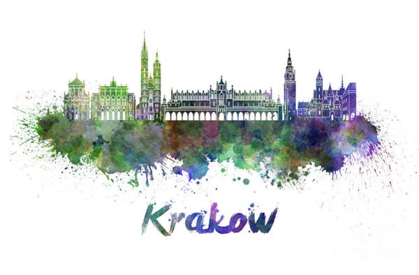 Poland Painting - Krakow Skyline In Watercolor by Pablo Romero