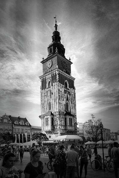 Photograph - Krakow Town Tower Black And White by Sharon Popek