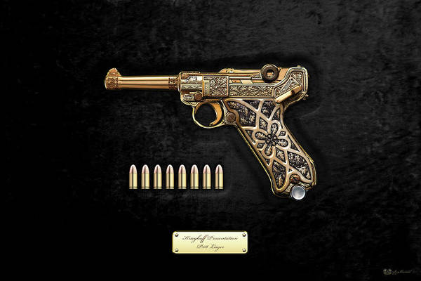 Digital Art - Krieghoff Presentation P.08 Luger With Ammo Over Black Velvet by Serge Averbukh
