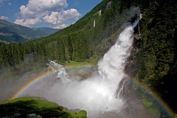 Photograph - Krimml Waterfall And Rainbow by Aivar Mikko