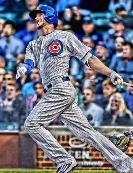 Iphone 4s Wall Art - Painting - Kris Bryant Chicago Cubs by Joe Hamilton