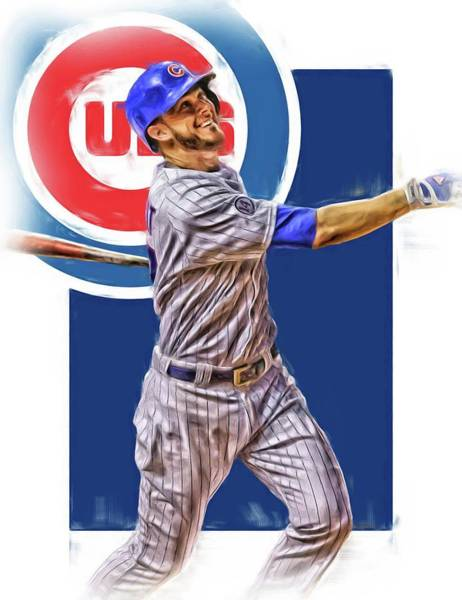 Wall Art - Mixed Media - Kris Bryant Chicago Cubs Oil Art by Joe Hamilton