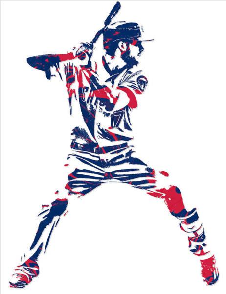 Wall Art - Mixed Media - Kris Bryant Chicago Cubs Pixel Art 10 by Joe Hamilton