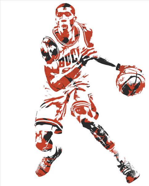 Wall Art - Mixed Media - Kris Dunn Chicago Bulls Pixel Art 1 by Joe Hamilton