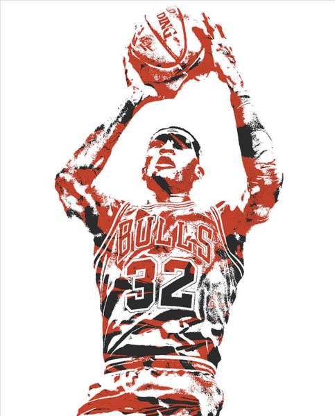 Wall Art - Mixed Media - Kris Dunn Chicago Bulls Pixel Art 2 by Joe Hamilton