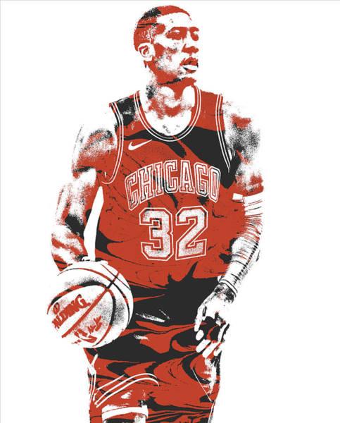 Wall Art - Mixed Media - Kris Dunn Chicago Bulls Pixel Art 4 by Joe Hamilton
