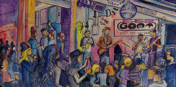 Painting - Kris Lager Band At The Goat by David Sockrider
