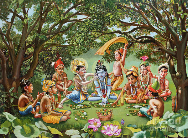 Veda Wall Art - Painting - Krishna Eats Lunch With His Friends With No Bordure by Dominique Amendola