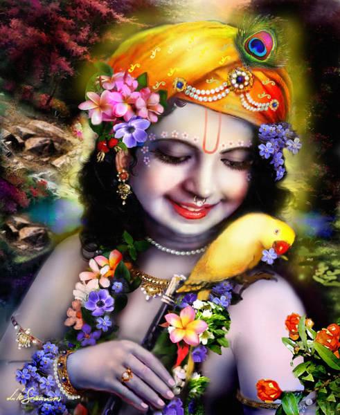Wall Art - Mixed Media - Krishna With Parrot by Lila Shravani