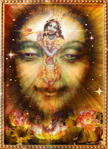 Wall Art - Mixed Media - Krishnas Divine Secret  by Ananda Vdovic