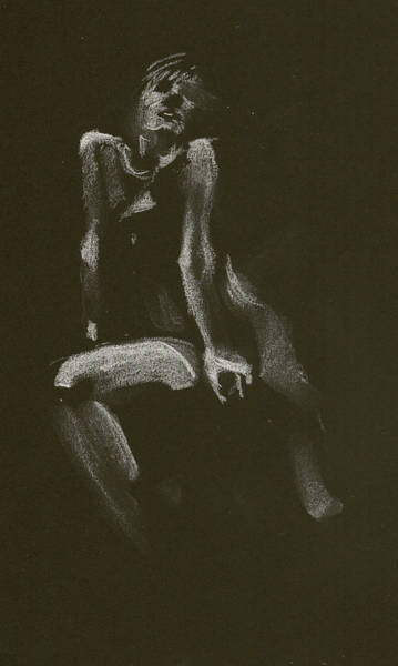 Drawing - Kroki 2014 10 18_3 Figure Drawing White Chalk by Marica Ohlsson