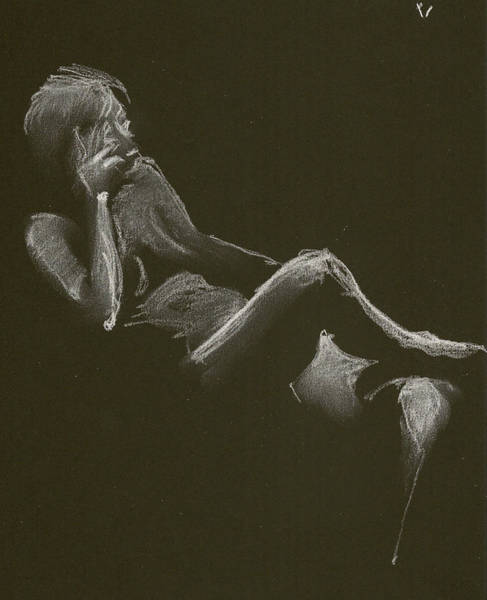 Drawing - Kroki 2014 12 27_3 Figure Drawing White Chalk by Marica Ohlsson