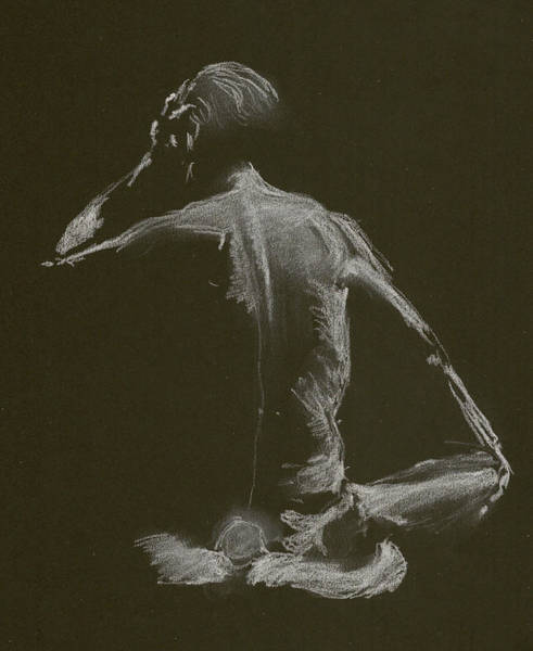 Drawing - Kroki 2015 01 10_14 Figure Drawing White Chalk by Marica Ohlsson