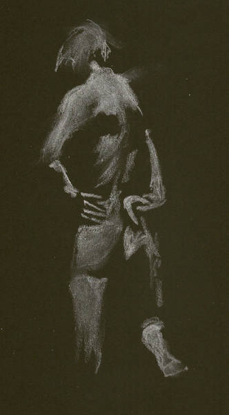 Drawing - Kroki 2015 01 10_7 Figure Drawing White Chalk by Marica Ohlsson