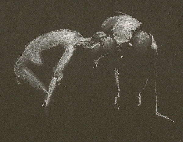 Drawing - Kroki 2015 04 25 _1 Figure Drawing White Chalk by Marica Ohlsson