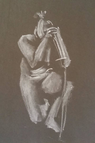 Drawing - Kroki 2015 06 18_4 Figure Drawing Chinese Sword White Chalk by Marica Ohlsson