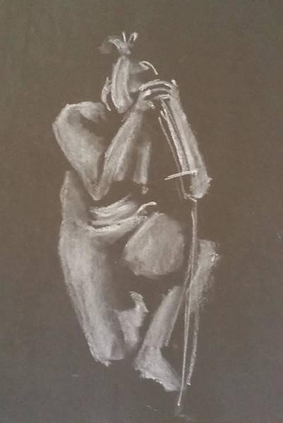 Kroki 2015 06 18_4 Figure Drawing Chinese Sword White Chalk Art Print