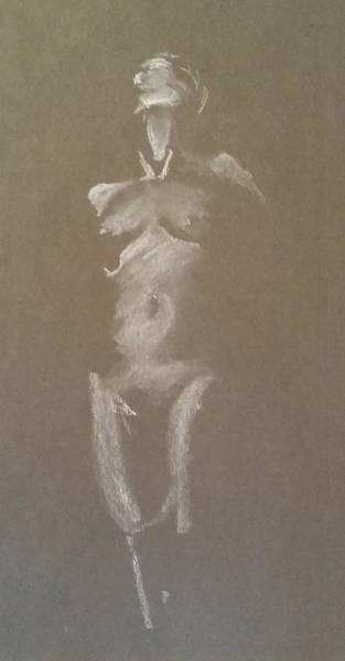 Drawing - Kroki 2015 06 18_6 Figure Drawing White Chalk by Marica Ohlsson
