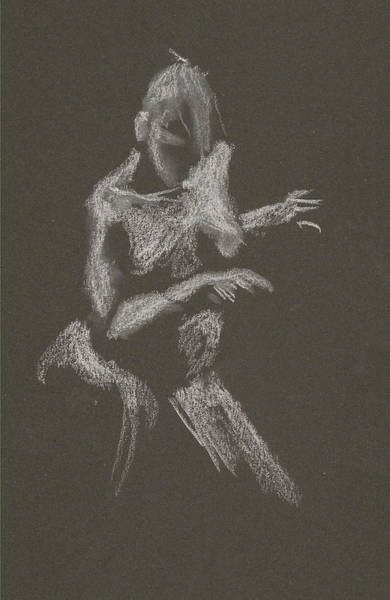 Drawing - Kroki 2015 10 03_12 Figure Drawing White Chalk by Marica Ohlsson