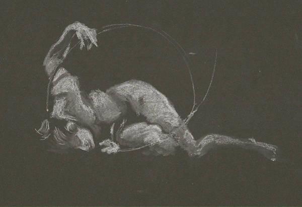 Drawing - Kroki 2015 10 03_14b Figure Drawing White Chalk by Marica Ohlsson