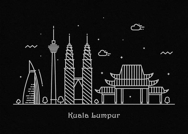 Twin Towers Drawing - Kuala Lumpur Skyline Travel Poster by Inspirowl Design