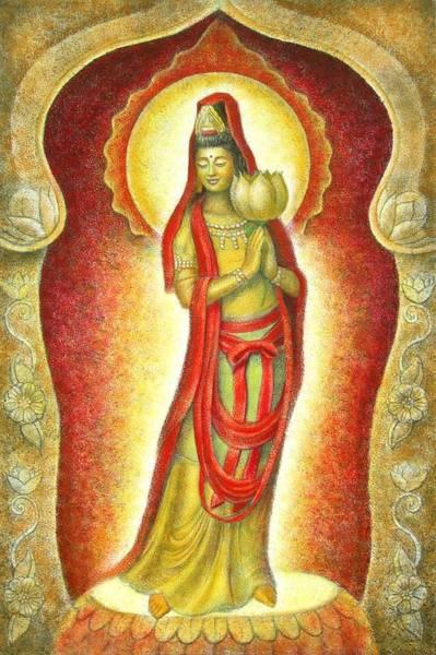 Goddess Wall Art - Painting - Kuan Yin Lotus by Sue Halstenberg