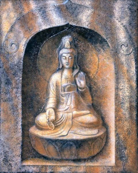 Buddhist Wall Art - Painting - Kuan Yin Meditating by Sue Halstenberg