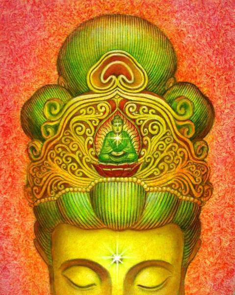 Goddess Wall Art - Painting - Kuan Yin's Buddha Crown by Sue Halstenberg