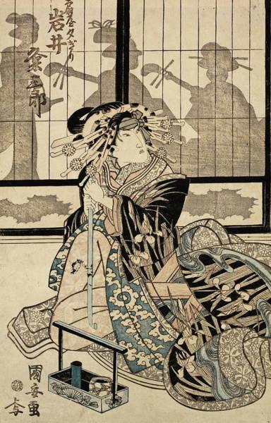 Kansai Painting - Kumesaburo Iwai As The Geisha Yugiri by Kuniyasu