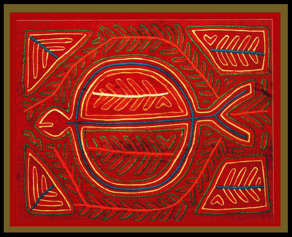 Panama Digital Art - Kuna Indian Stingray Mola by Vagabond Folk Art - Virginia Vivier