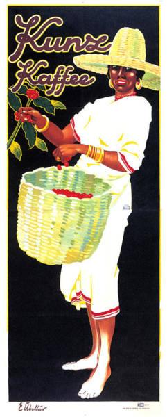 Fresh Mixed Media - Kunz Kaffee - Coffee Picker Girl - Vintage Coffee Advertising Poster by Studio Grafiikka
