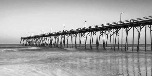 Photograph - Kure Beach Fishing Pier Black And White Panorama by Ranjay Mitra