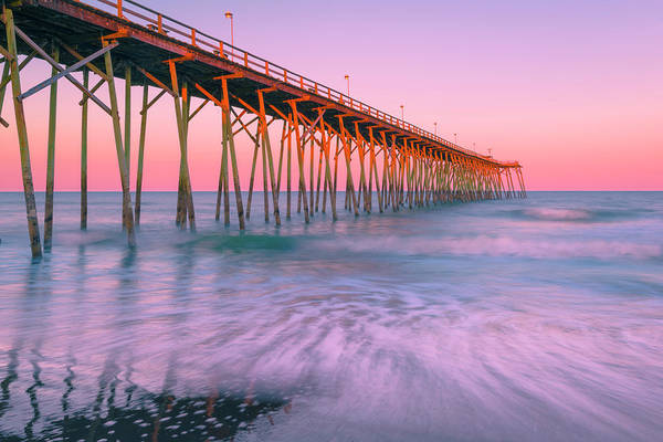Photograph - Kure Beach Fishing Pier In Carolinas At Sunset by Ranjay Mitra