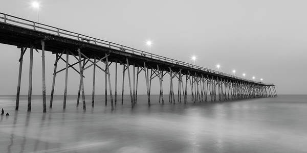 Photograph - Kure Fishing Pier Black And White Panorama by Ranjay Mitra