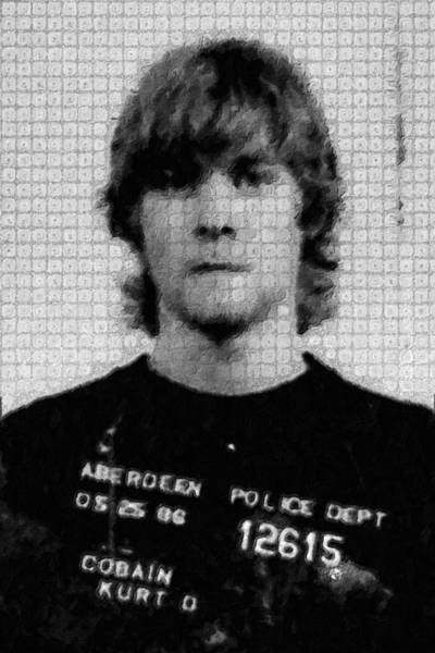 Painting - Kurt Cobain Painting Mug Shot Vertical Black And Gray Grey Unique Dot Pattern by Tony Rubino