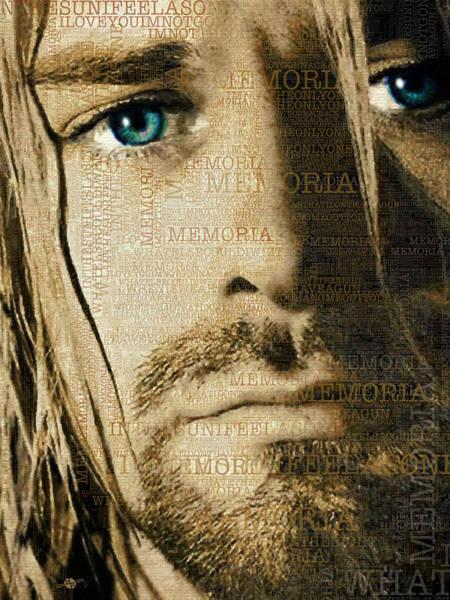 Painting - Kurt Cobain Nirvana And Lyrics Close Up by Tony Rubino