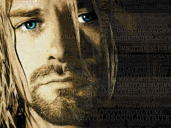 Painting - Kurt Cobain Nirvana And Lyrics by Tony Rubino