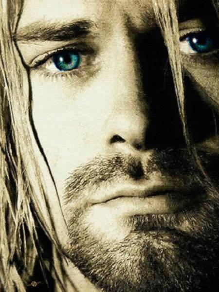Painting - Kurt Cobain Nirvana Close Up by Tony Rubino