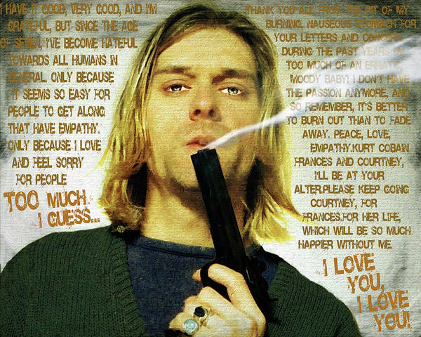 Wall Art - Painting - Kurt Cobain Nirvana With Gun And Suicide Note Painting Macabre 1 by Tony Rubino